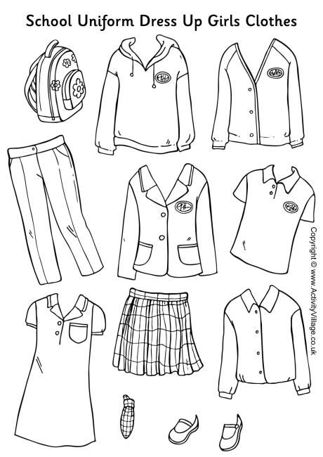 Here's a set of girls' school uniform to colour, cut out and use to dress up your school uniform paper dolls. Why not colour the clothes to match your own school uniform, or perhaps design your ideal uniform?