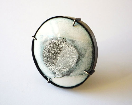 Deborah Forrest, United Kingdom,  Brooch: Beneath the paper 3, 2010,  silver, vitreous enamel on copper
