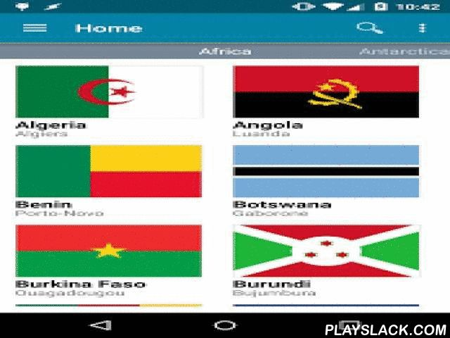 """World Atlas  Android App - playslack.com ,  Expand your knowledge - with over 260 countries and 230 capitals, this is the most complete atlas app on the market.Includes:* Olympics data* Demographics * Geographic info* Travel info* Weather info* Flags* Satellite + street maps* Quiz modeUses Wikipedia's """"List of Sovereign States and Dependent Territories by Continent"""" as the master list.Brings together information from Wikipedia, Wikitravel, Google Maps, Weather Underground, the CIA World…"""
