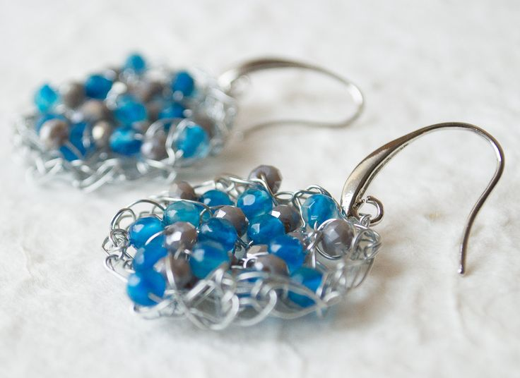 Wire crochet handmade earrings pure silver plated non tarnish wire brass silver plated ear wires High quality brass Blue Agata by UnikacreazioniShop on Etsy