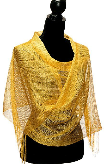 3049fc097a529 Shawls and Wraps for Evening Dresses - Sheer Bridal Womens Scarves for Prom,  Wedding, Party - Scarfs for Women with Fringe by Petal Rose - Yellow