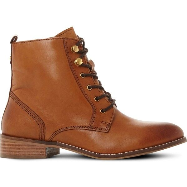 DUNE Quincey leather lace-up boots (12060 RSD) ❤ liked on Polyvore featuring shoes, boots, round toe boots, lined boots, zipper boots, laced up boots and leather lace up flats
