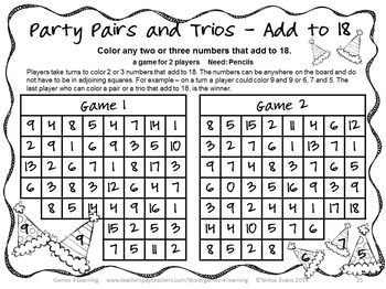 Addition Games NO PREP Pairs and Trios by Games 4 Learning 25 Print and Play Addition Games $