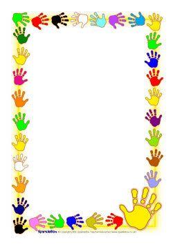 Hand print A4 page borders (SB2634) - SparkleBox   Wat zullen ze veel zwaaien en handen schudden!!