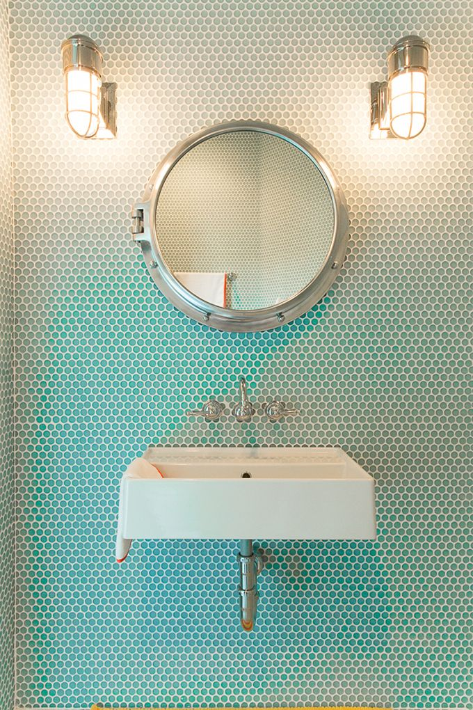 turquoise nautical bathroom | Bailey McCarthy of Biscuit Home