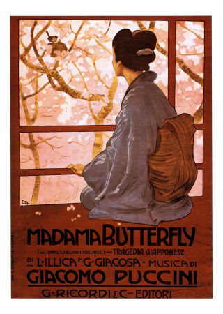 The cover of an early Italian edition of the music and words for Puccini's opera Madama Butterfly  my beautiful work