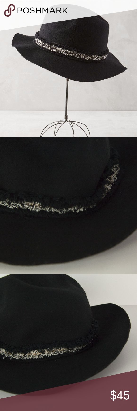 Anthropologie Black Guild Rancher Hat 100% Wool SUPER chic Anthropologie Guild Rancher Hat in black. Features black white and gold fringe trim. Style #37099231. This is just a little linty from being tossed around my closet - no flaws, perfect condition, brand new with tags!  Material: 100% Wool  🚫no trades 🚫no modeling ✅dog friendly/🚭smoke free home ✅reasonable offers ✅bundle & save! Anthropologie Accessories Hats