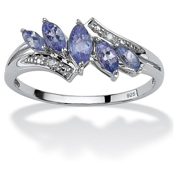 PalmBeach Jewelry .76 TCW Tanzanite Platinum over Silver Ring ($90) ❤ liked on Polyvore featuring jewelry, rings, jewelry & watches, purple, platinum jewellery, platinum ring, diamond accent rings, purple ring and platinum jewelry