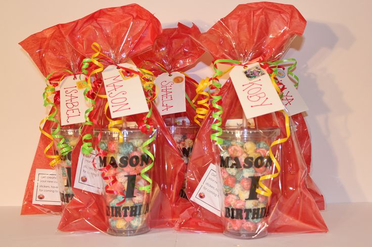 Finished Product Custom Tumbler Loot Bags with a sticker sheet so your guests can decorate their cup as they like!