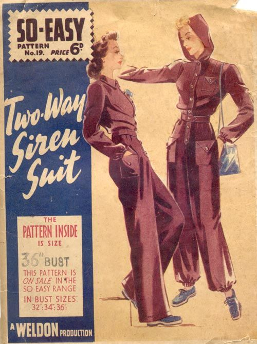 make do and mend, re-making clothes, 1940s rationing, 40s fashion, the famous siren suit for home sewers by Weldon repurpose vintage style color illustration jumpsuit