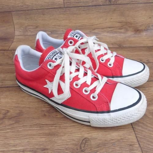 SIZE-UK-5-CONVERSE-STAR-PLAYER-EV-OX-RED-CANVAS-LACE-UP-TRAINERS-PLIMSOLLS