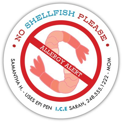 Personalized Shellfish Allergy Stickers