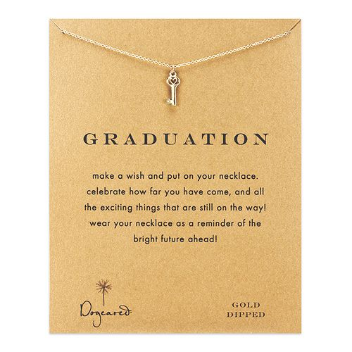 graduation reminder necklace with gold dipped heart key