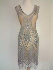 DECO HAUS 1920's Charleston Beaded Flapper Gatsby Fringe Dress Medium to Large