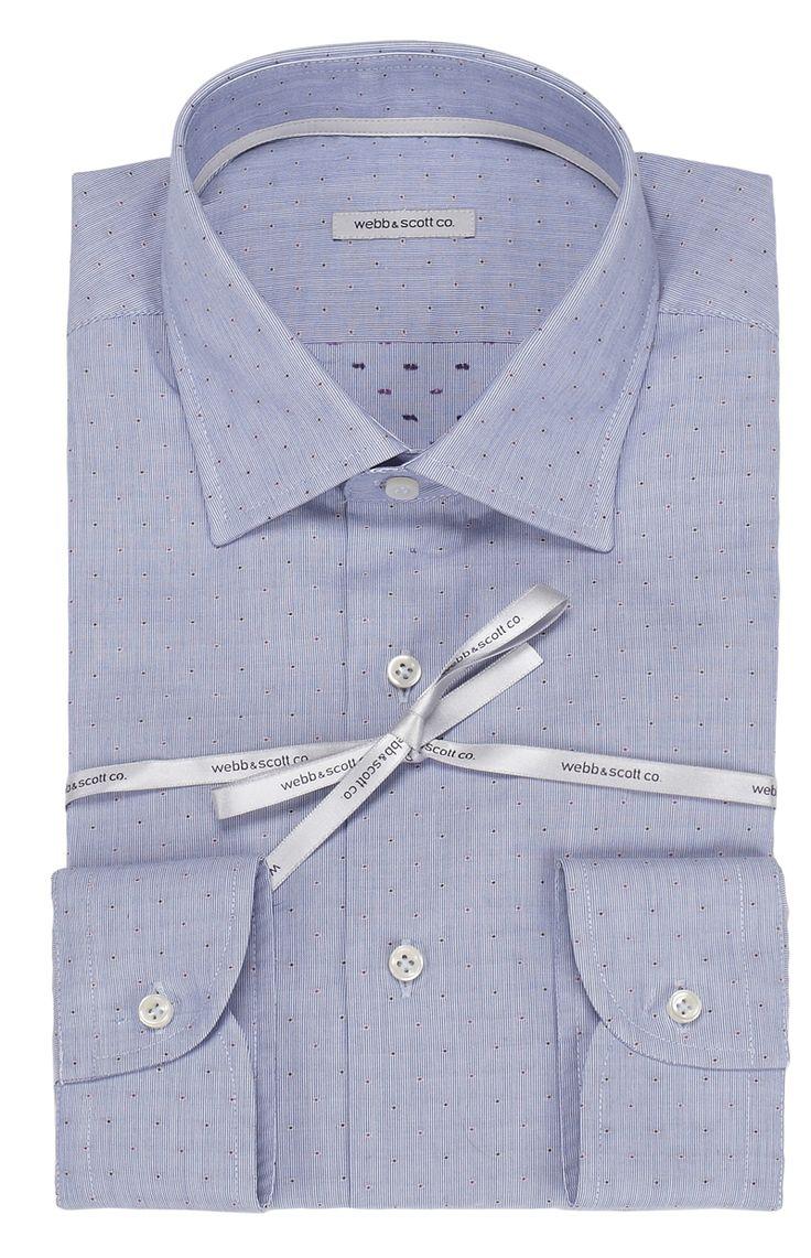 Camicia mille righe celeste, con piccoli puntini. Seguici anche su                            www.redisrappresentanze.it