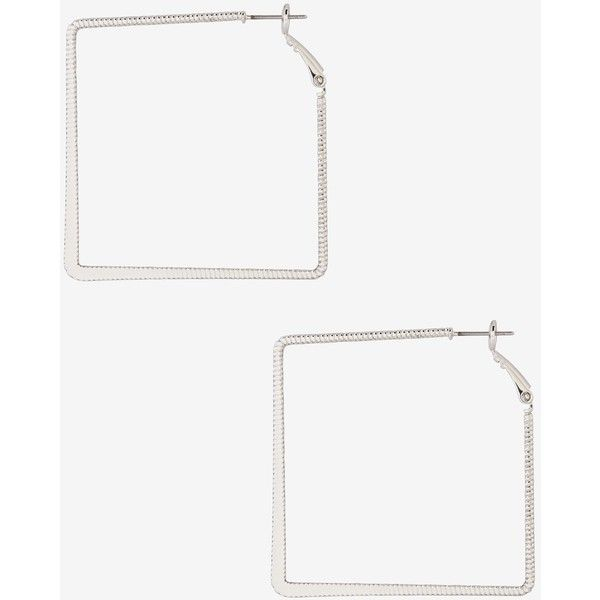 Express Textured Square Hoop Earrings ($6.45) ❤ liked on Polyvore featuring jewelry, earrings, shiny silver, square earrings, geometric earrings, oversized hoop earrings, oversized earrings and nickel free earrings
