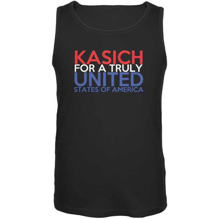Election 2016 John Kasich Truly United Black Adult Tank Top