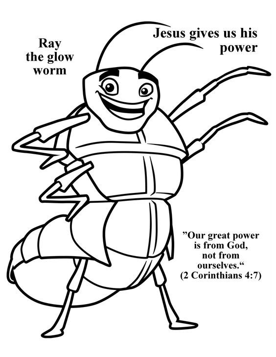 Cave Quest Day 5 Preschool coloring page Ray the Glow Worm.: