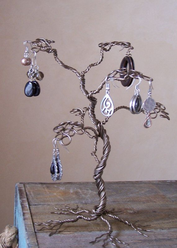 Tropical Jewelry Tree Stand, Wire Earring Display and Organizer
