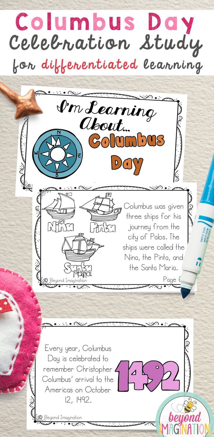 Columbus Day facts activities for first grade and preschool. Images to  color in. Differenti…   Kindergarten activities [ 1500 x 735 Pixel ]