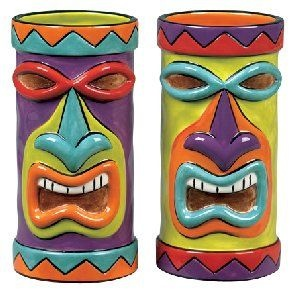 """And I want these too...  """"Tiki"""" Coolers by Clay Art- Set of Two Tiki Mugs! (Hula Island)"""