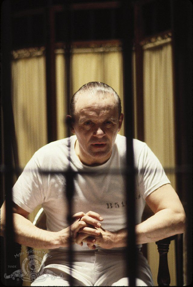 "Anthony Hopkins as Hannibal Lecter. ""I ate his liver with some fava beans and a nice chianti."""