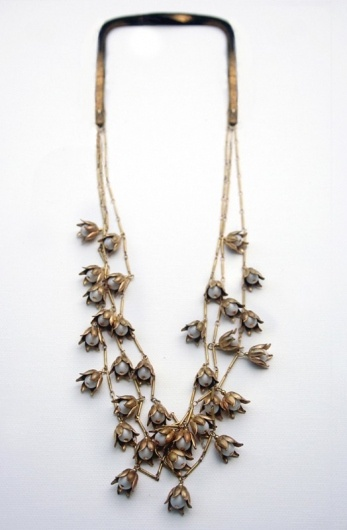 want it | vintage inspired lily chain necklace | brass flowers & cream pearls