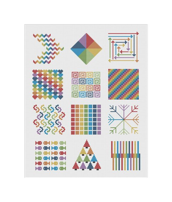 Modern Cross Stitch Pattern Geometric Rainbow PDF by KnitSewMake