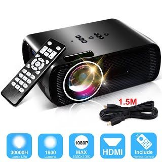"""""""Features & Benefits"""" 1800 Lumens LCD Projector, Konomio Home Theater Movie Multimedia Video Projector Support HD 1080P HDMI USB SD Card VGA AV for PC Laptop PS4 XBOX Smartphone Android iPhone TV Box with Free HDMI Cable"""