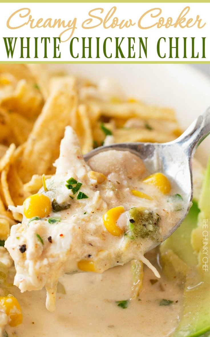 Slow Cooker Creamy White Chicken Chili | This creamy white chicken chili is made easy in the slow cooker, and has just the right amount of spice to warm up your night! | http://thechunkychef.com
