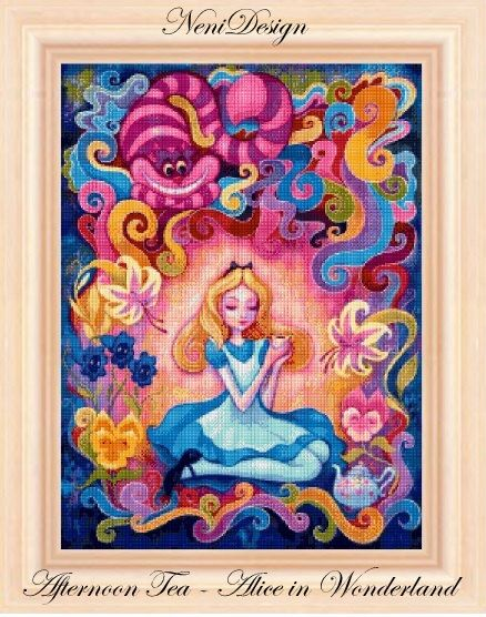 Afternoon Tea - Alice in Wonderland - cross stitch pattern - PDF pattern - instant download!