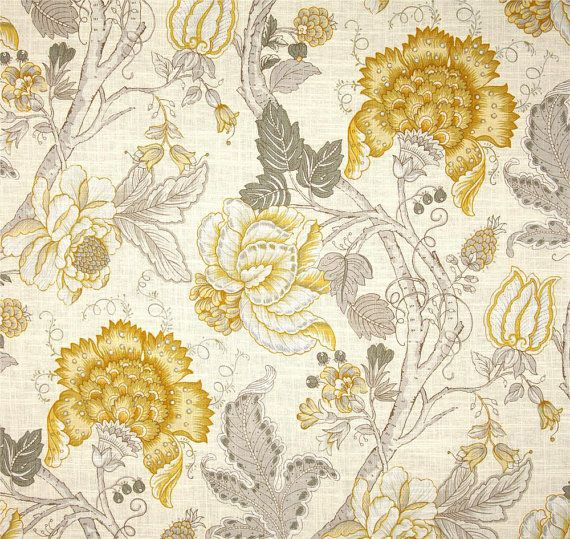 Grey Yellow Window Curtains, Yellow Floral Drapes, Yellow