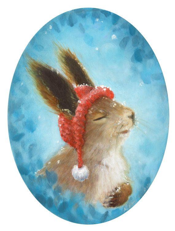 Cute Bunny Rabbit. Winterland Snow Bunny Art by chickenrittle