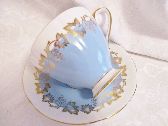 Vintage Elizabethan blue and gold teacup and saucer, english china tea cup afternoon tea, excellent condition Beautiful soft blue and gold Elizabethan teacup and saucer set. In excellent condition with no chips or crazing. This is a vintage teacup which means as a vintage piece