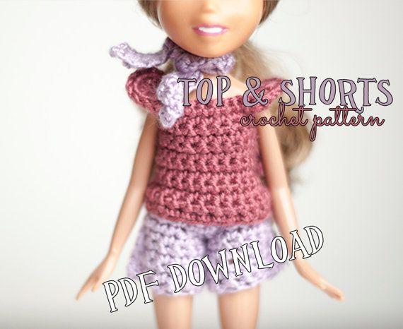 Crochet PATTERN - how to crochet bratz doll top and shorts, crochet shorts, crochet top, DIY, instant download, pattern, pdf tutorial, bratz