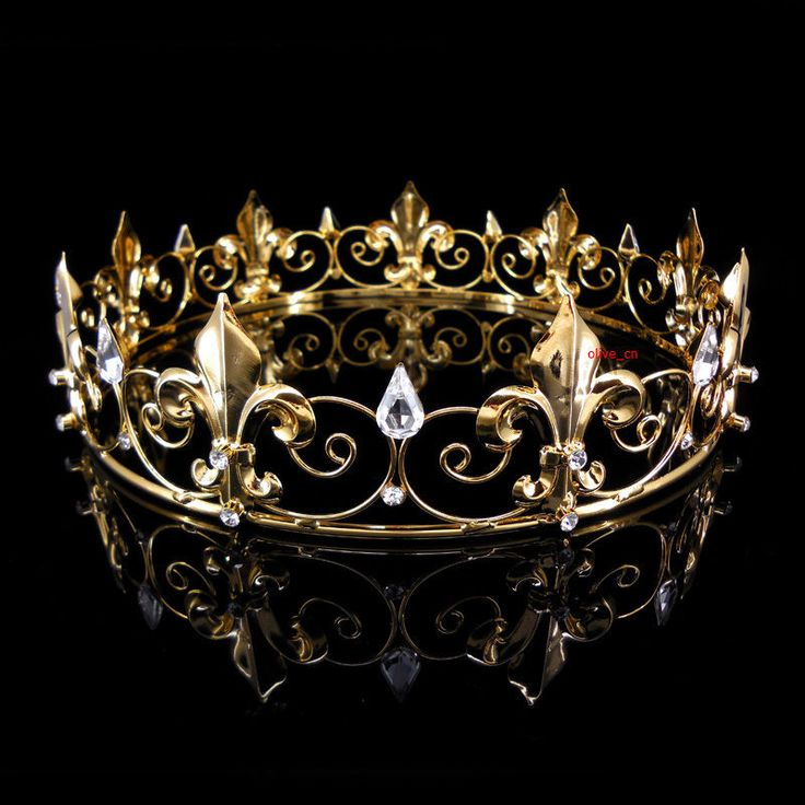 Men's Imperial Medieval Fleur De Lis Gold King Crown 4.5cm High 18cm Diameter #Crown