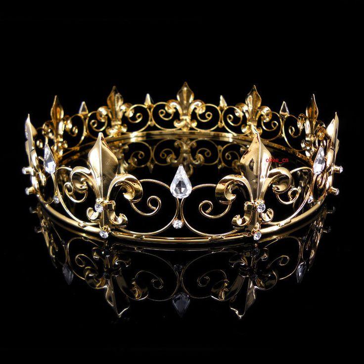 Men's Imperial Medieval Fleur De Lis Gold King Crown 4.5cm High 18cm Diameter #Crown