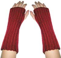 "Crochet Wrist Warmer -- These would pretty with ""garlands of flowers and leaves up the length."""