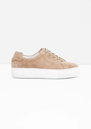& Other Stories  Suede Platform Sneakers in Beige 110 euro