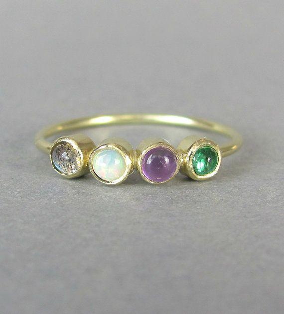 ... , émeraude, anneau dempilage minimaliste, anneau de mariage