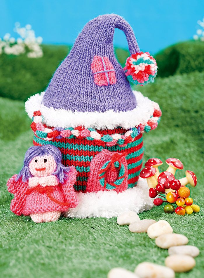 Free Knitting Pattern for Fairy House with Fairy - This toy house and doll are created with simple knit stitches. Designed by Nicola Valiji.
