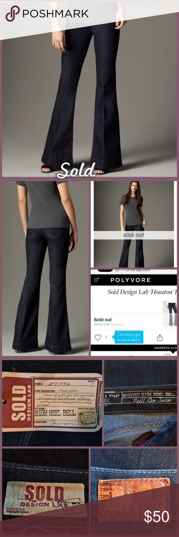 Sold Design Lab Flare Jeans Houston High Hell Belle from Sold, size medium, NWT. See size chart for number equivalent. Very soft jeans with a beautiful flare. Perfect for high heels!!! •I'm open to offers on all items!• Sold Design Lab Jeans Flare & Wide Leg