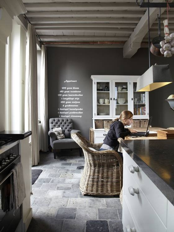 dark gray walls - heavily white washed ceiling with exposed copper pipes - slate floors - white cabinets with dark countertops - refined modern with rustic elements