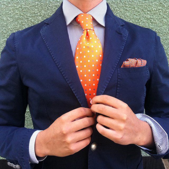 Orange Floral Tie by E. Marinella
