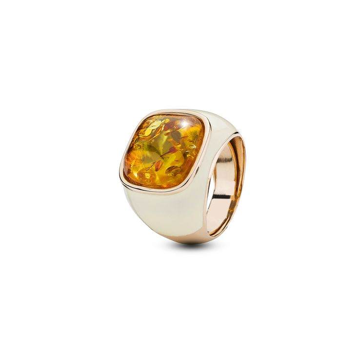 House of Amber - A unique ring in rose gold sterling silver, white enamel, and cognac amber. The ring has an elegant design and is a part of the Enlightened Enamel Collection.