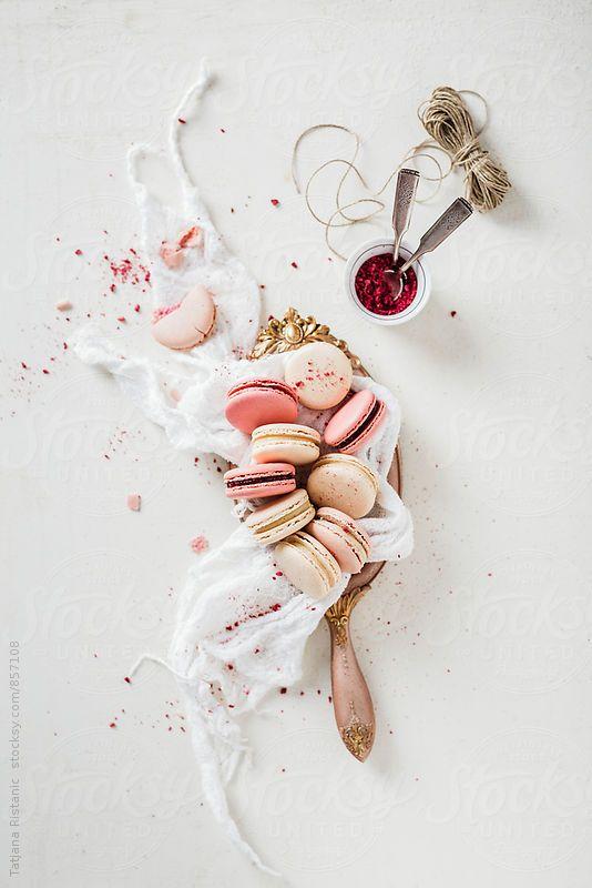 Raspberry and vanilla macarons