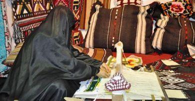Saudi woman weaving