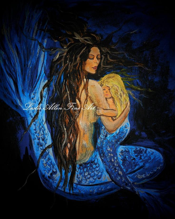 "Mermaid Painting Art Mother and Child Mermaid Mermaid Seascape Fantasy Sea Magical Art Print Decor Child  ""The Deepest Love Series 3"". $15.00, via Etsy."