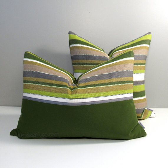Decorative indoor, outdoor pillow cover in lime & olive green, charcoal grey…