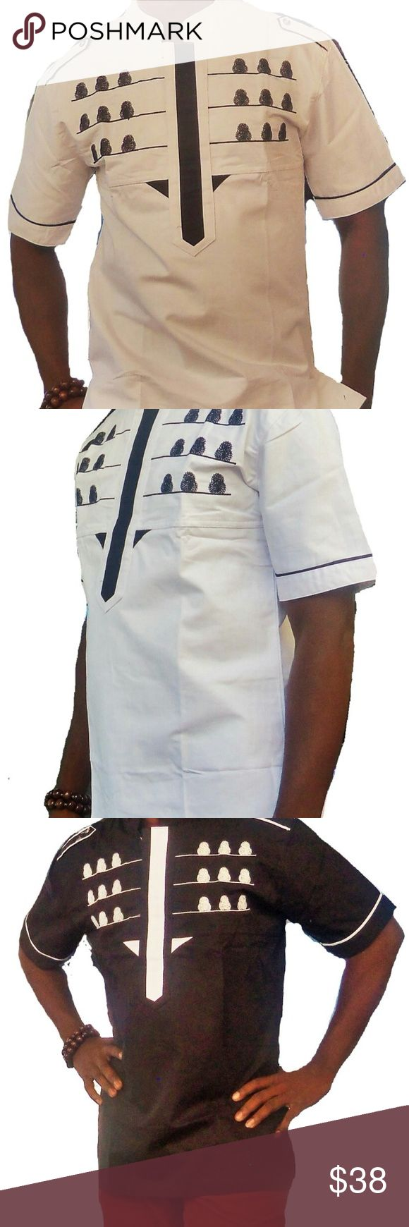 African Clothing Men This is a classic Men's short Sleeve African Traditional clothing finely and neatly sewn and it's made with high quality fabric. It has a perfect finish and it is ideal for any special occasion be it wedding ceremony, church service, party, outdooring etc.This costume can also be a perfect gift option to a love one. African Clothing Men Shirts Casual Button Down Shirts